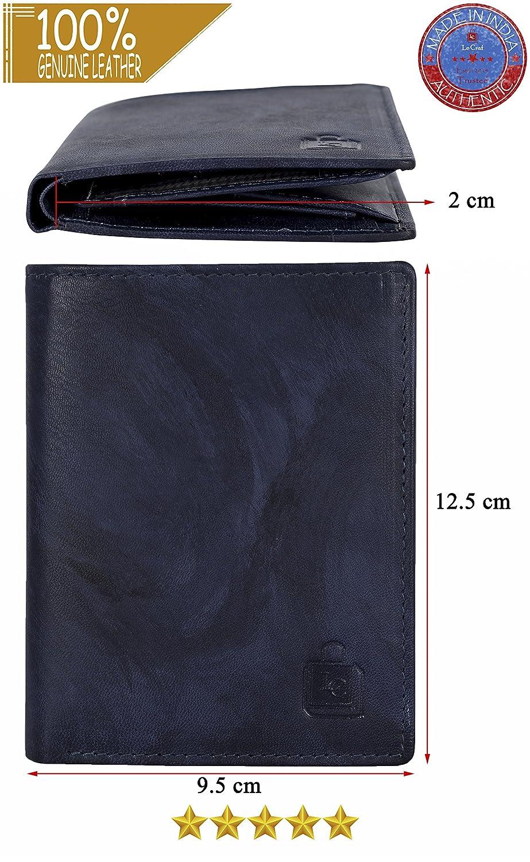 Le craf Men's Blue Genuine Leather RFID Blocking Wallet