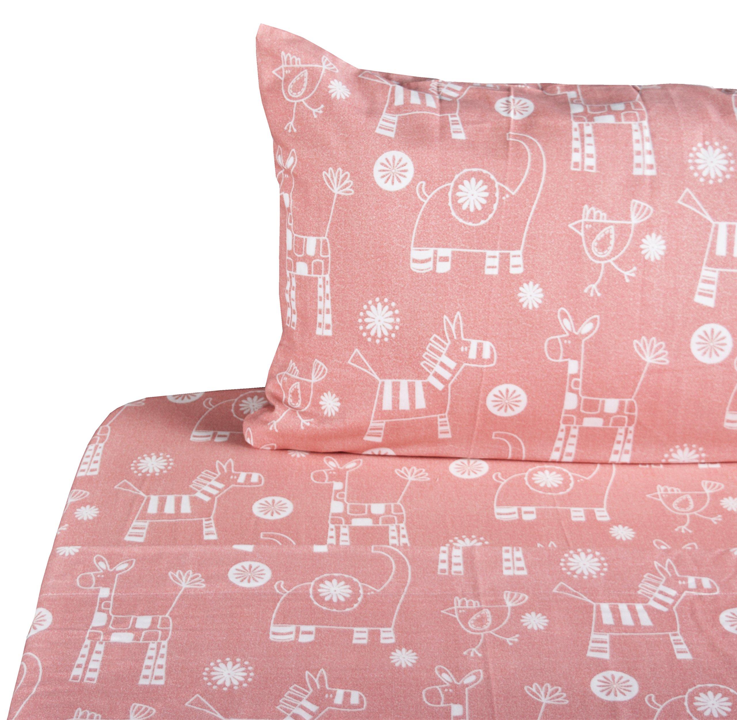 J-pinno Girls Animals Elephant Chicken Zebra Double Layer Muslin Cotton Bed Sheet Set Twin, Flat Sheet & Fitted Sheet & Pillowcase Natural Hypoallergenic Bedding Set (8, Twin)
