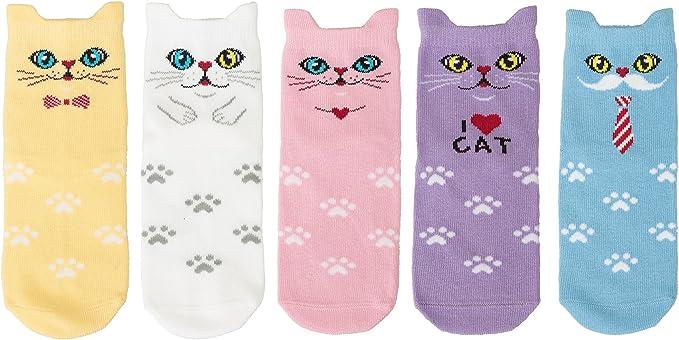 Maiwa algodón Novedad Gatos animales ninguna costura Calcetines 5 ...