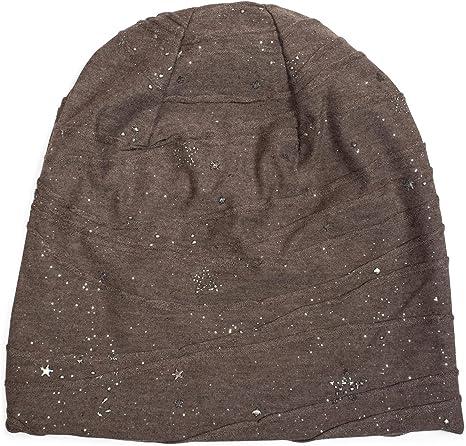 Beanie Mütze Metallic Splashes Sterne und Pailletten Slouch Longbeanie Unisex