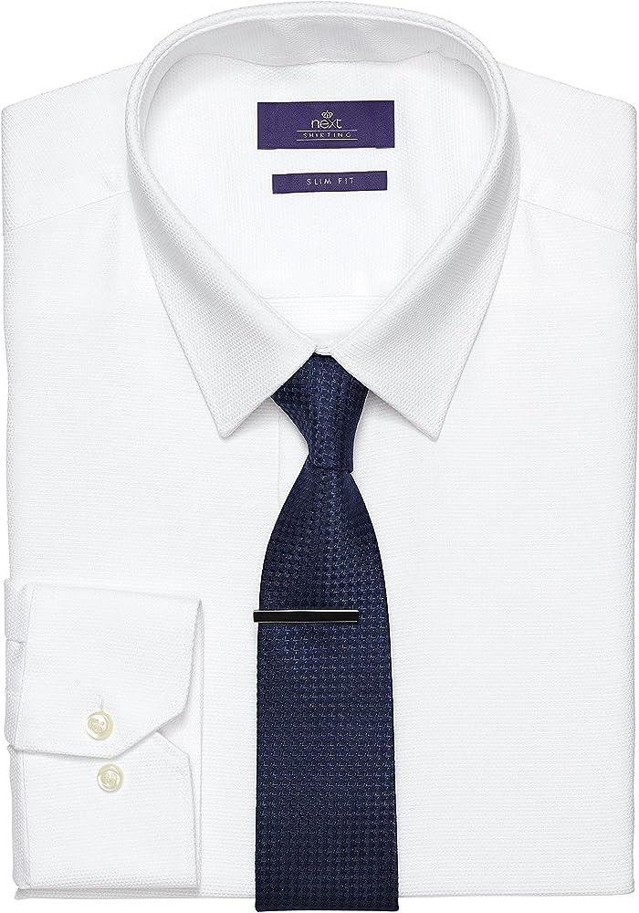 next Hombre Conjunto De Camisa Puño Simple, Corbata Y Alfiler De Corbata Formal Casual: Amazon.es: Ropa y accesorios