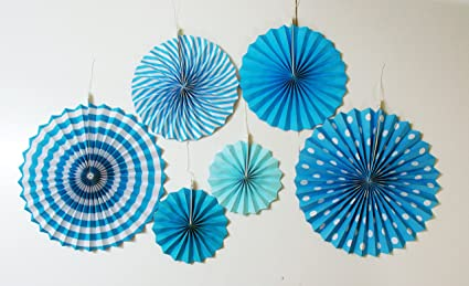 My Party Suppliers Baby Shower Fan Decorations 6pcs Designer