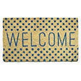 Avera Products   Welcome Blue Polka Dots, Natural Coir Fiber Doormat, Anti-Slip Mat Back