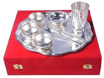 SHIV SHAKTI ARTS - Juego de 8 piezas de latón chapado en plata pura (1