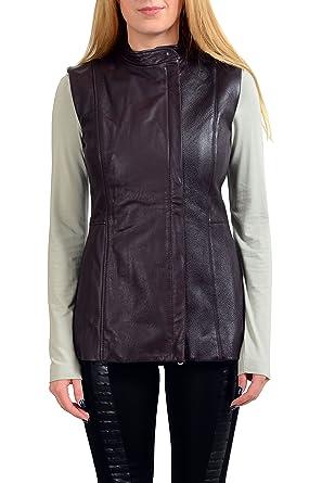 4fab8560ec13 Maison Margiela 1 100% Goat Leather Brown Full Zip Women s Vest US M ...