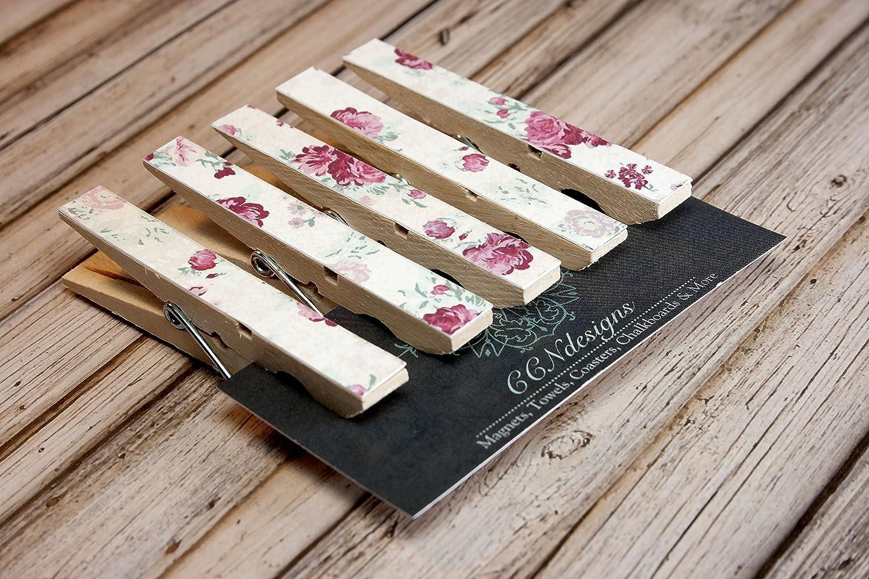 Pink Floral Clothespin Magnet Set