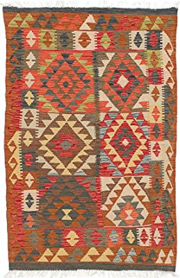 "eCarpet Gallery Hand Woven Anatolian FW 3'1"" x 4'10"" Wool Kilim, Red"