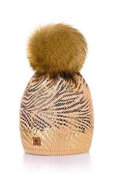 ef5857deaf3 MFAZ Morefaz Ltd Women Ladies Winter Beanie Hat Knitted With Small Crystals  Large Pom Pom Cap Ski Snowboard Hats (Beige)  Amazon.co.uk  Clothing