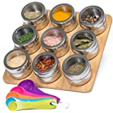 Nellam Spice Rack Magnetic with Bamboo Wood Stand and Wall Mount, 9 Storage Jars For Spices Organizer Tins and Measuring Spoon - Designer Stainless Steel Kitchen Containers with Clear Top