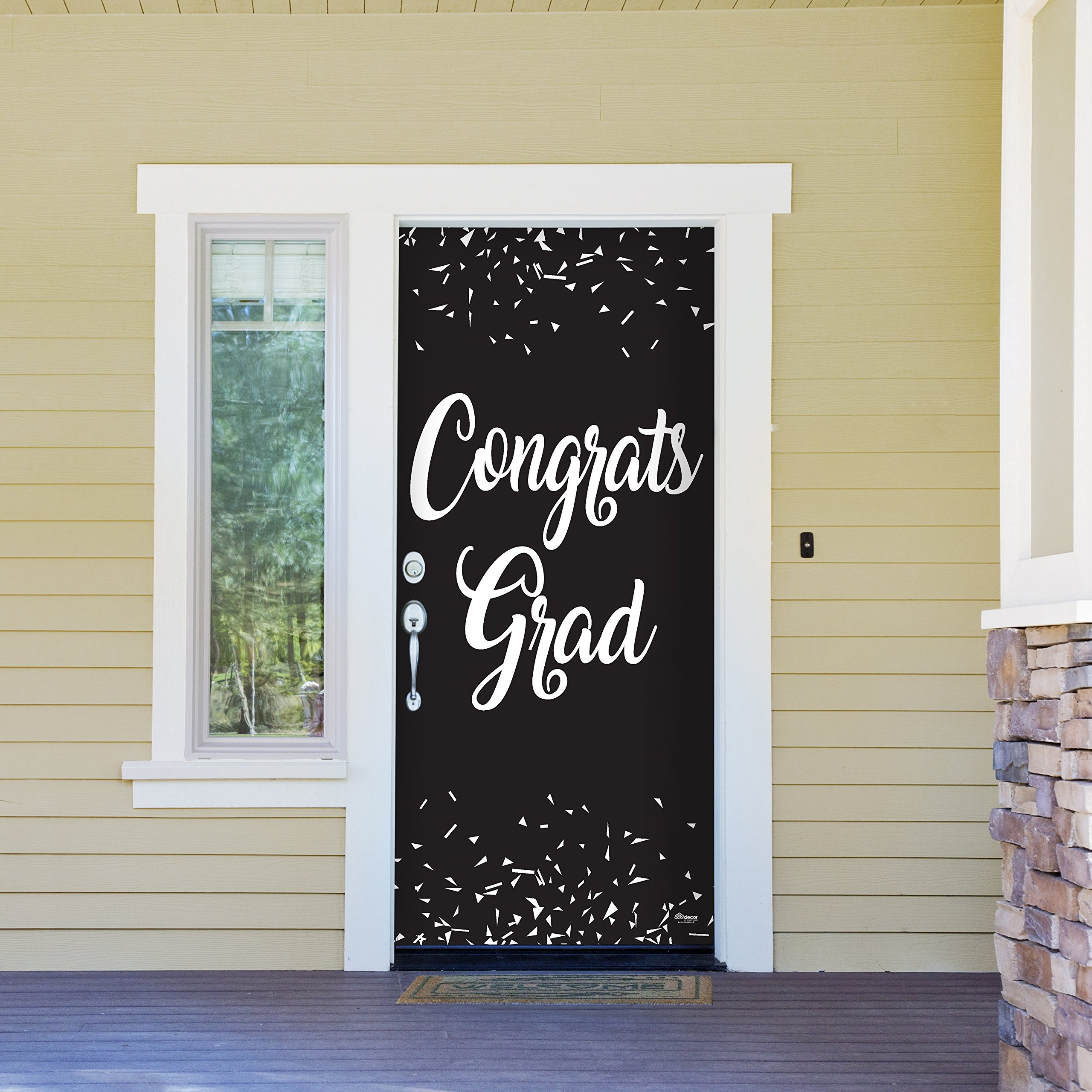 Victory Corps Congrats Grad Black - Outdoor GRADUATION Garage Door Banner Mural Sign Décor 36'' x 80'' One Size Fits All Front Door Car Garage -The Original Holiday Front Door Banner Decor
