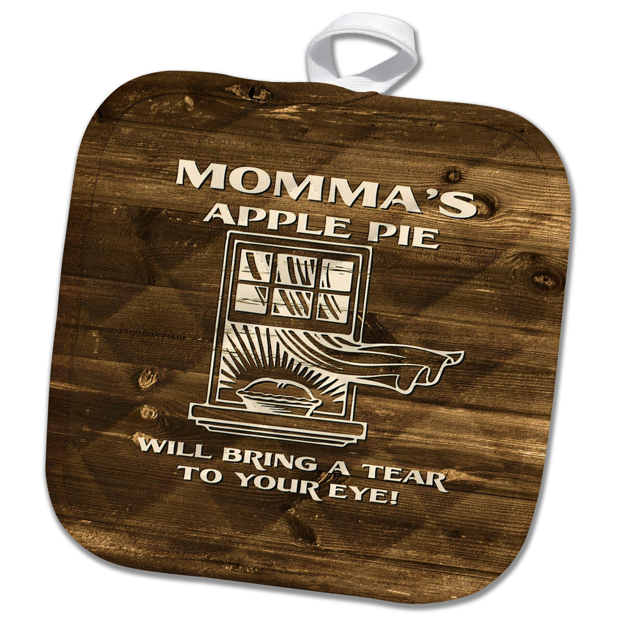 3dRose Russ Billington Designs - Mommas Apple Pie Will Bring a Tear to Your Eye- not Real Wood - 8x8 Potholder (PHL_293745_1)