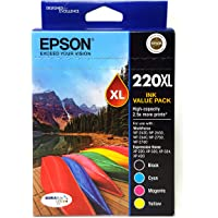 Epson 75140 220XL Capacity Four Colour Value Pack (Black, Cyan, Magenta and Yellow)-Epson Workforce WF-2630, WF-2650…