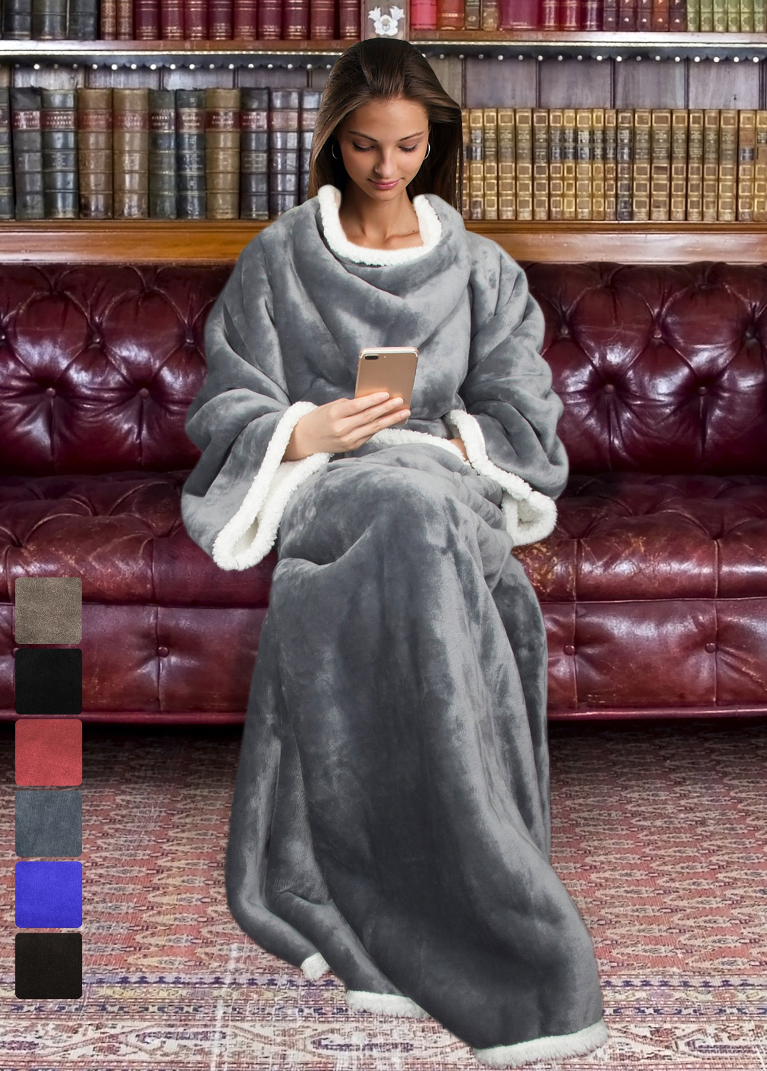 Sherpa Wearable Blanket for Adult Women and Men, Super Soft Comfy Warm Plush Throw with Sleeves TV Blanket Wrap Robe Cover for Lounge Chair Couch 72'' x 55'' Grey by Tirrinia