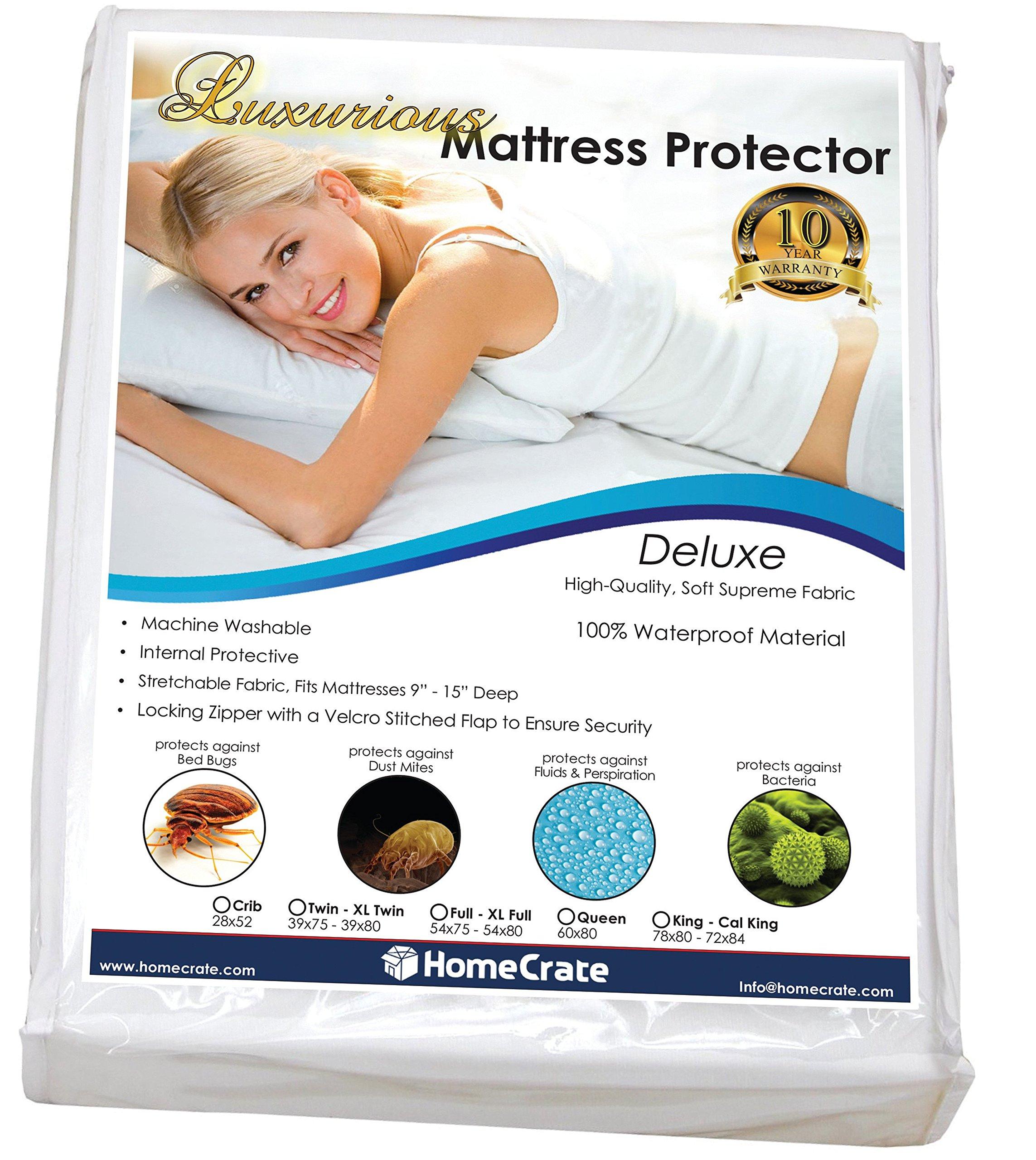 HomeCrate Natural Sleep Defence - Luxurious Waterproof/Bed Bug Proof Mattress Encasement - 78'' 80'' King,