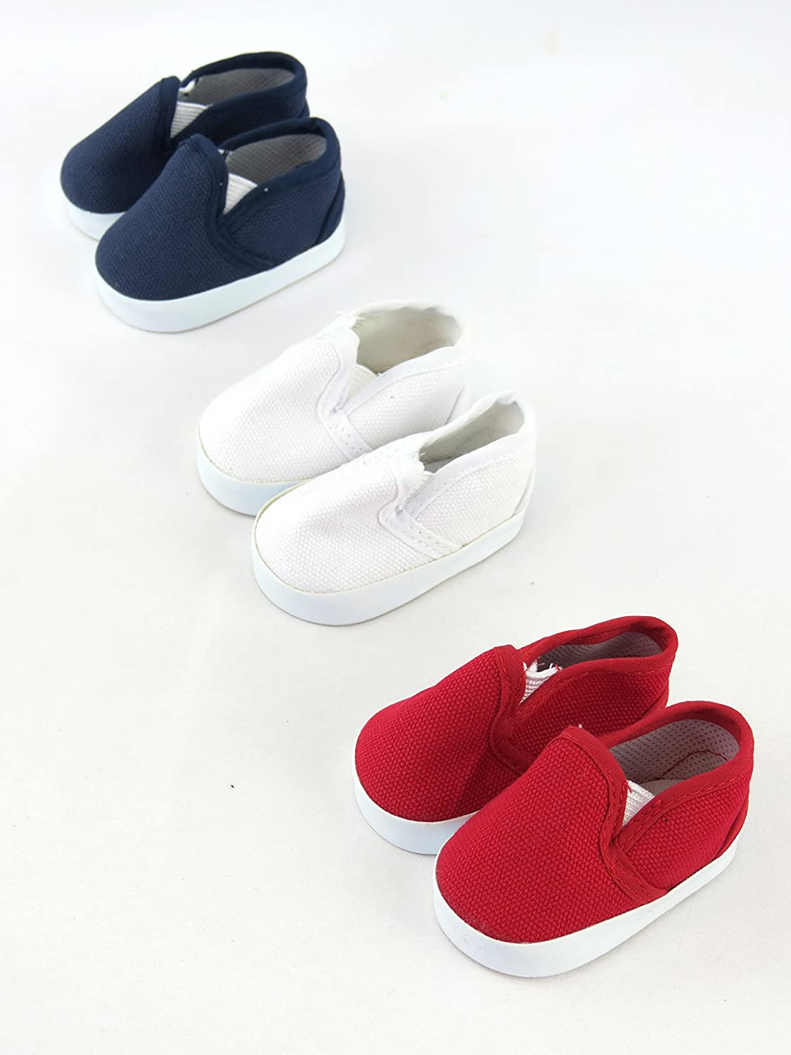 White Madame Alexander Fits 18 American Girl Dolls American Fashion World etc   18 Inch Doll Accessories and Blue Our Generation and Blue 3 Pack of Canvas Slip Ons: Red Fits 18 American Girl Dolls