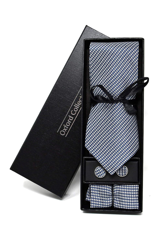 Corbata de hombre, Pañuelo de Bolsillo y Gemelos Azul Oscuro a ...