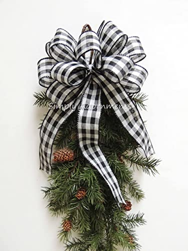 Amazoncom Black White Cabin Plaid Bow Black White Check Christmas