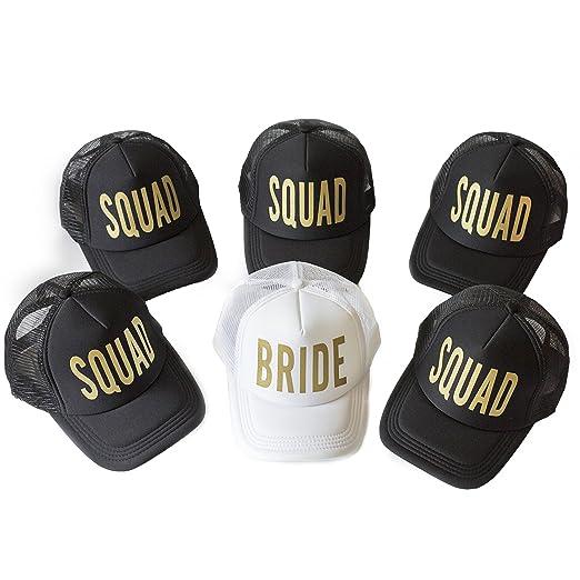 eef334e3af315 Amazon.com  6 Pack Bride Squad Baseball Hat Bachelorette Party Bridal  Wedding Shower Mesh Caps Adjustable Headwear for Girls Women  Health    Personal Care