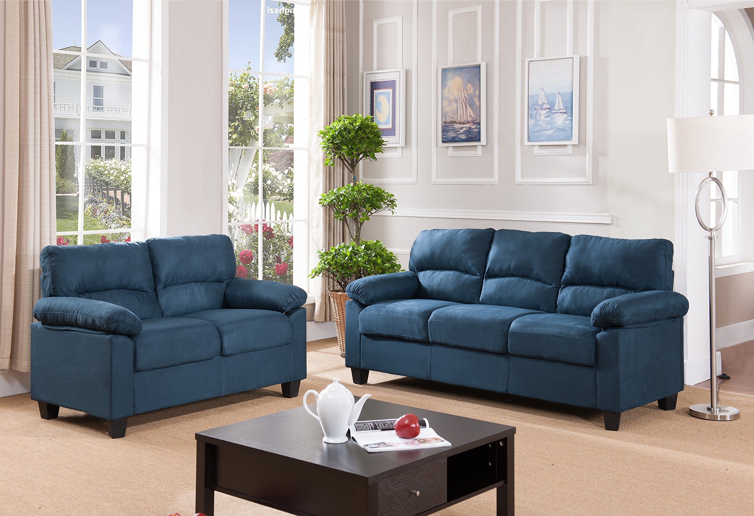 Pilaster Designs Blue Upholstered Microfiber Stationary Living Room Set (Chair, Loveseat, Sofa) by Pilaster Designs (Image #1)
