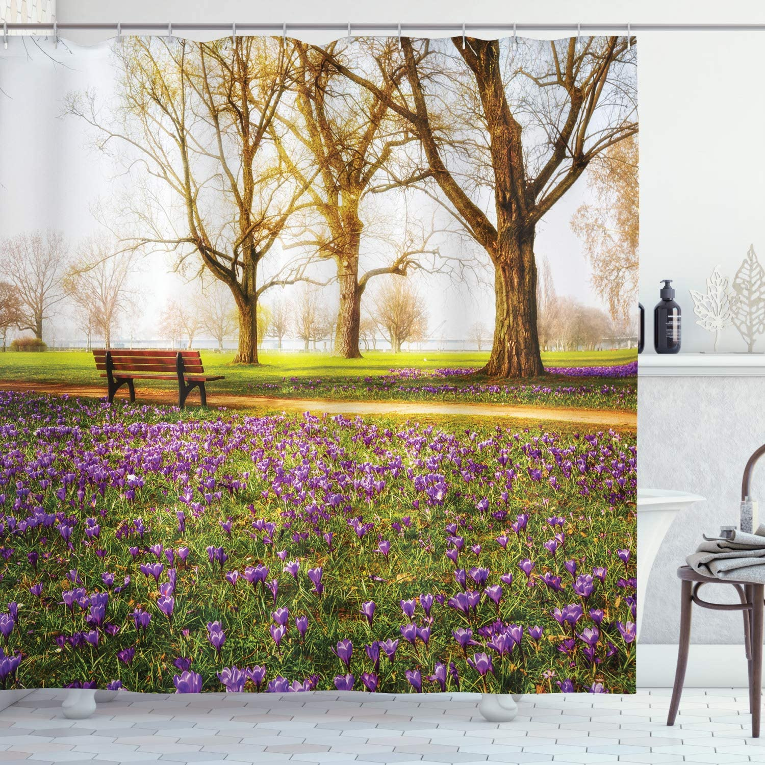 Ambesonne Nature Shower Curtain, Violet Blooming Crocus Flowers in The Park with Trees and Benches Calm Print, Cloth Fabric Bathroom Decor Set with Hooks, 84