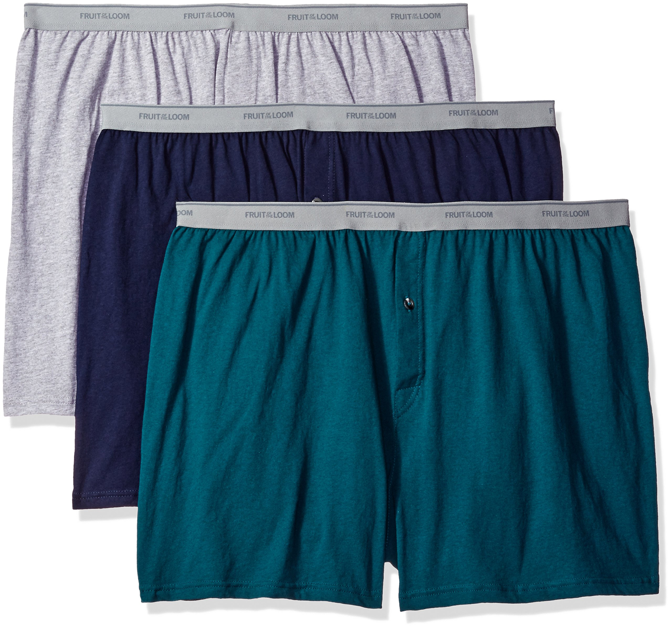Fruit of the Loom Men's Big Man Knit Boxers (Pack of 3), Assorted Solids, 3XB by Fruit of the Loom