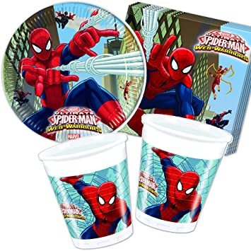 37 piezas Party * Ultimate Spiderman * con plato + taza + ...