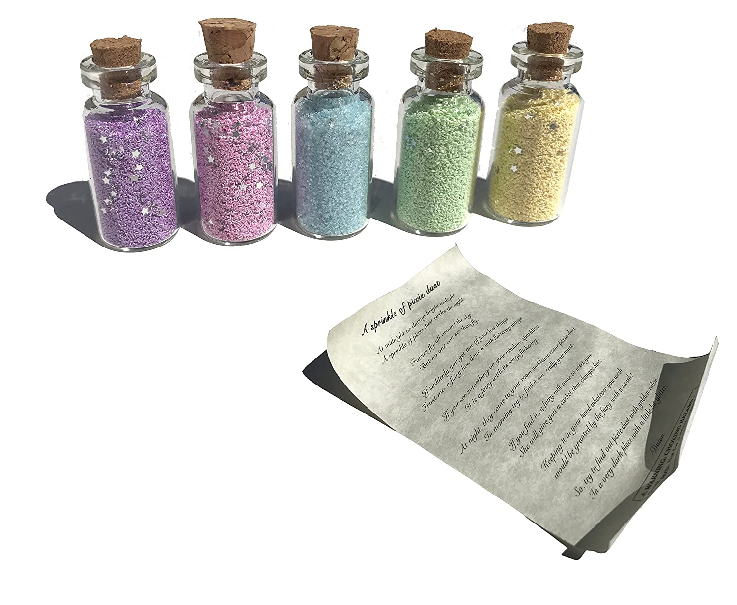 Multipack of 5 Tiny Vials of Fairy Pixie Dust Cute Colors (Glitter with Stars) Golden Leaf