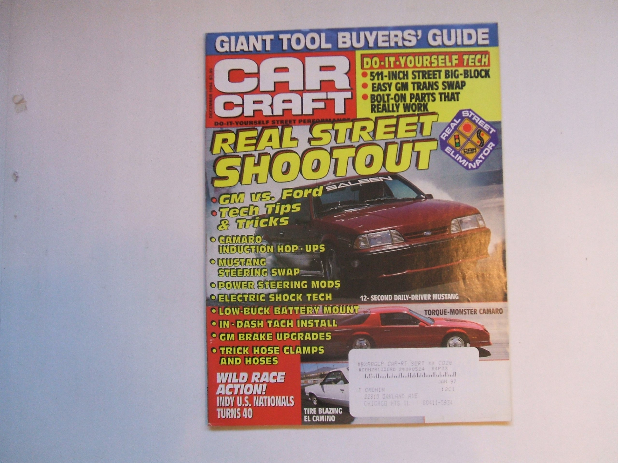 car craft december 1994 (gm vs  ford - tech tips and tricks - mustang  steering swap - in dash tach install - bolt on parts that really work,