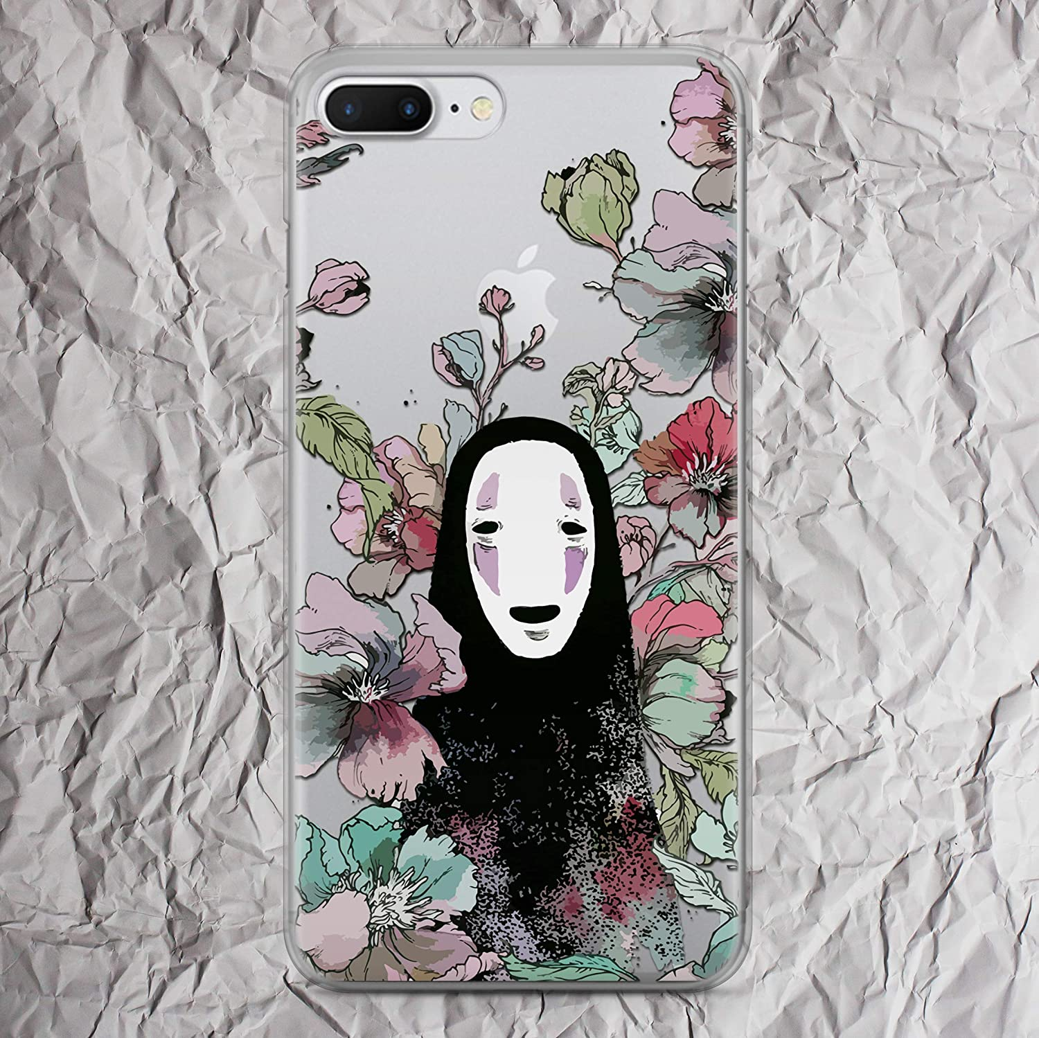 Spirited Away Kaonashi Phone Case No Face Man for iPhone X 7 8 6 6s plus 5 5s se 5se 4 4s Soot Sprites Anime Case Studio Ghibli collection fandom Gifts Clear Transparent Cell Phone Silicone TPU Cover