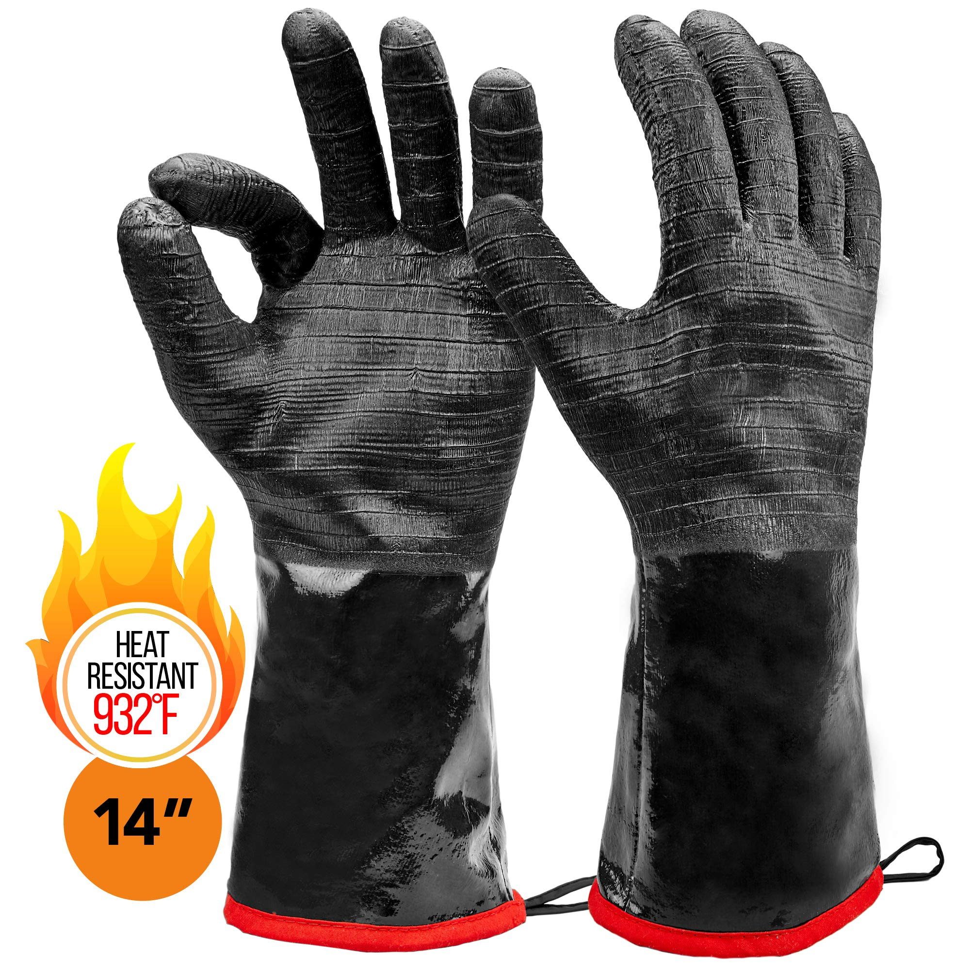 Heatsistance Heat Resistant BBQ Gloves, 14'' Long Sleeve, Extra Large Textured Grip to Handle Wet, Greasy or Oily Foods Fire and Food Safe Turkey Fryer Oven Mitts for Smoker, Grills and Barbecue by Heatsistance