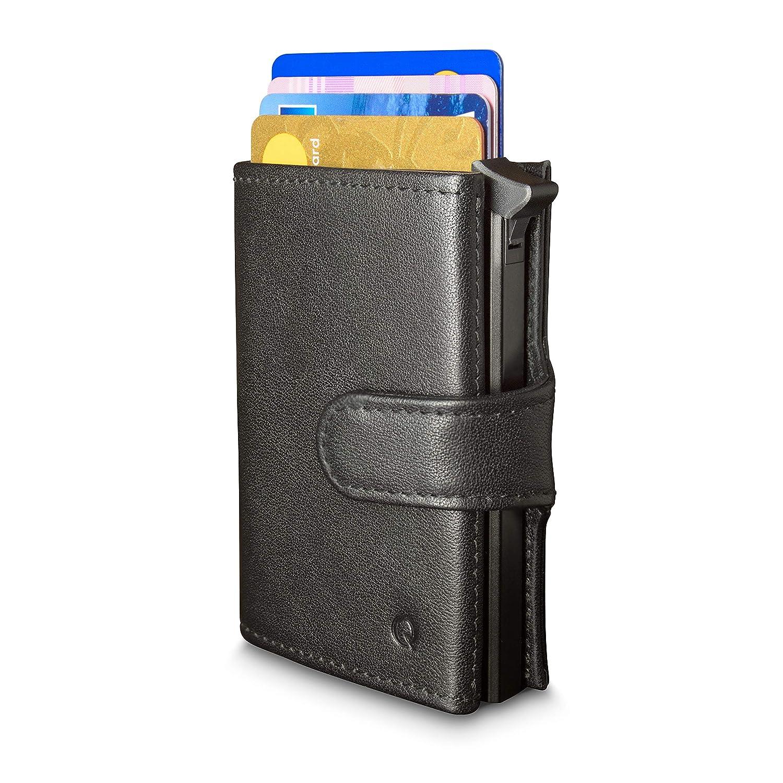 Cartera Qokle con bloqueo RFID para hombres | Con Tarjetero Duro | Eyector de tarjeta | Premium Cuero Genuino | Diseño Delgado con Bolsillo para las ...