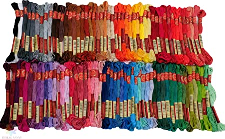 100 x Color Embroidery Thread Cross Stitch Kit Silk Sewing 100/% Skeins