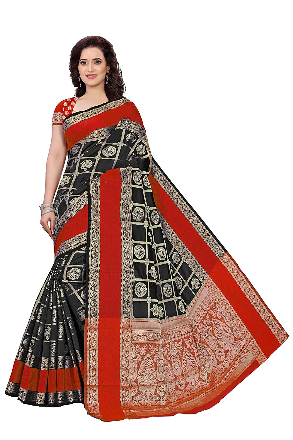 c6cf67ad47 Indian Fashionista Silk Saree with Blouse Piece (INDALK-BANARASISILK-BLACK_Black_One  Size): Amazon.in: Clothing & Accessories