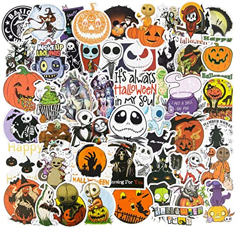 Halloween-50PCS Nightmare Before Christmas and Tim Burtons Stickers  50 PCS Vinyl Waterproof Stickers for Laptop,Skateboard,Water Bottles,Computer,Phone Halloween Theme,