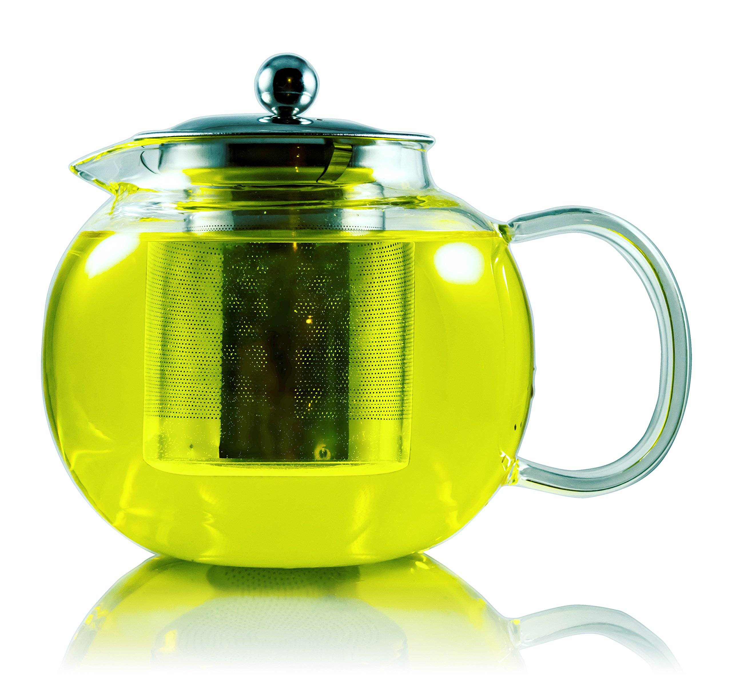 Kikn Kitchen Teapot w/ Stainless Steal Infuser 1000ml (4 cups) for Loose Leaf Tea, Cold Brew Coffee, and Fruit Infusing