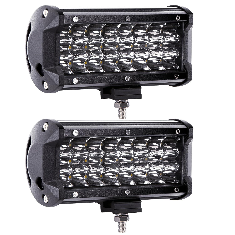 Amazon light bars accent off road lighting automotive led pods northpole light 2pcs 7 inch 72w spot led light bar triple row led aloadofball Image collections