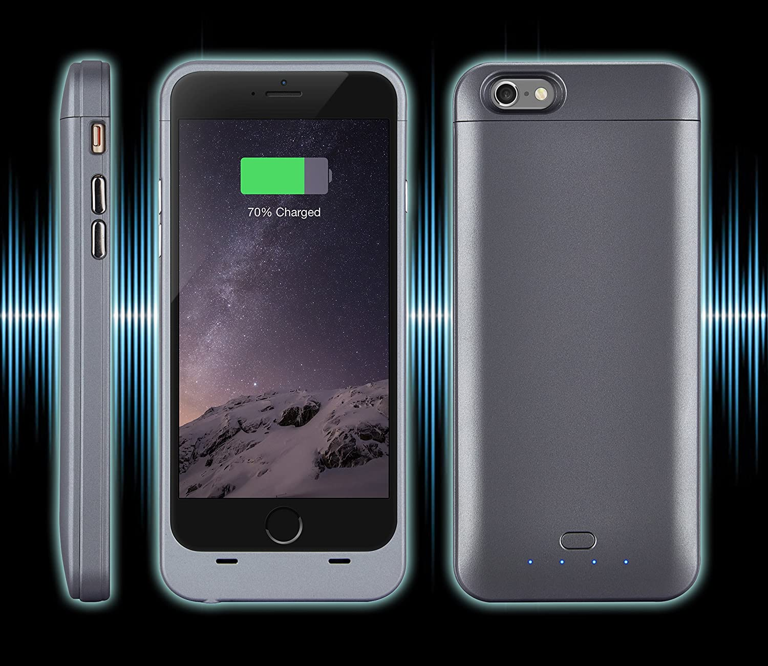 4.7 inch iPhone 6 Battery Case, iPhone 6 Battery Charger Case - Xcomm MFI Apple Certified iPhone 6 External Protective Rechargeable Portable Battery Charger Case (Gray)