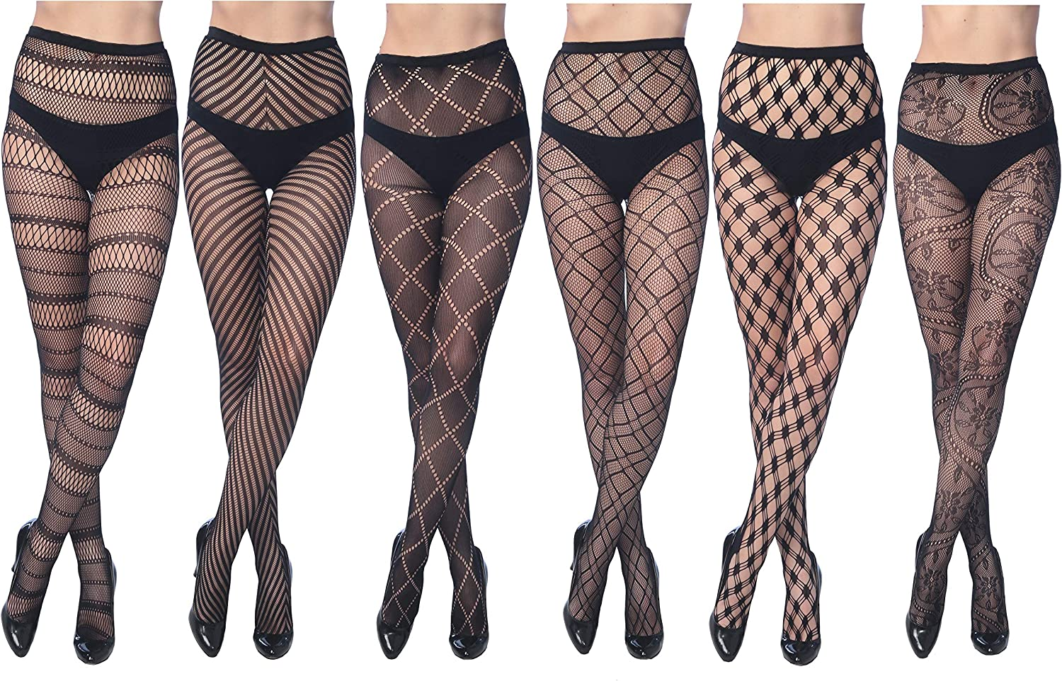 Frenchic Fishnet Women's Lace Stockings Tights Sexy Pantyhose Regular &  Plus Sizes (Pack of 6) at Amazon Women's Clothing store
