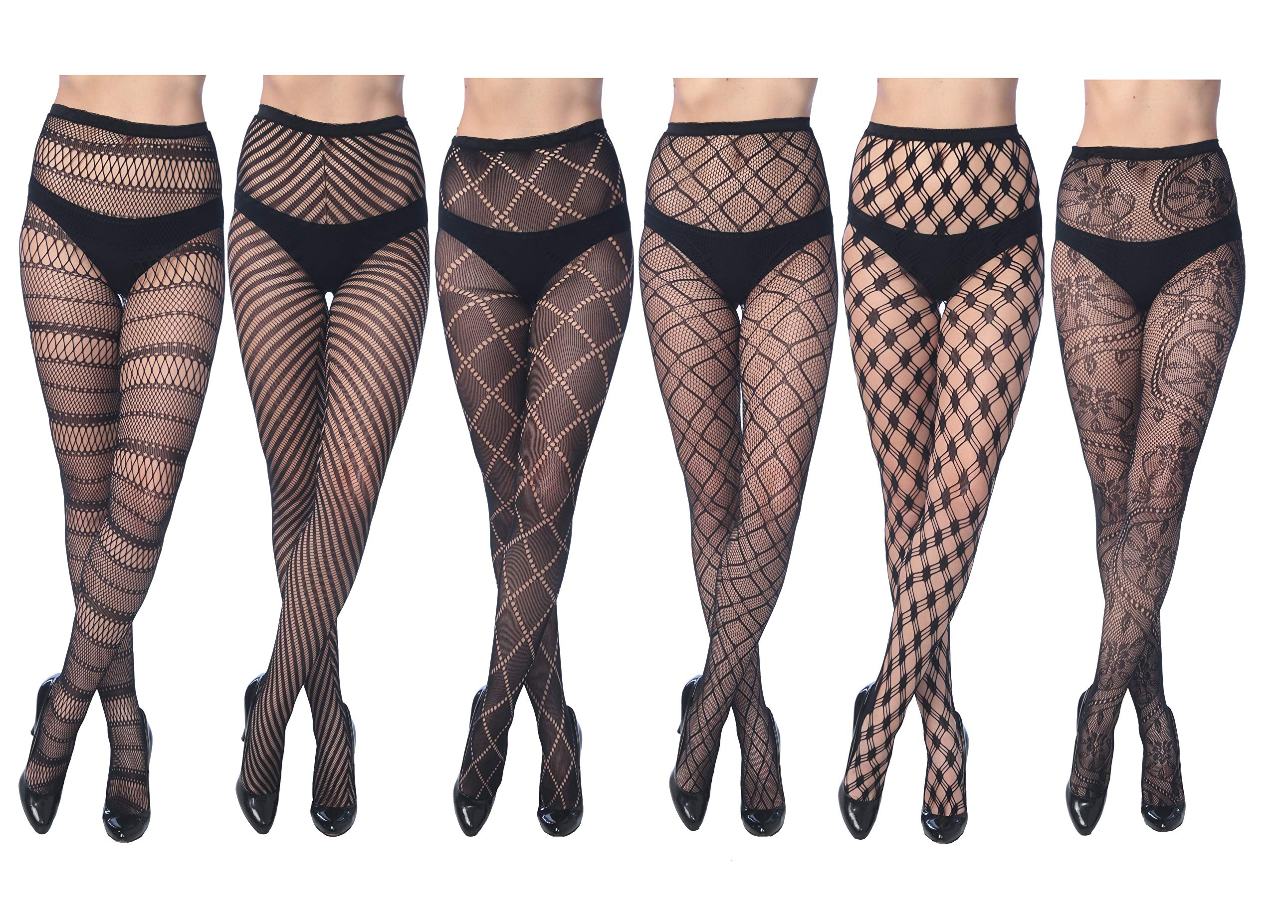 Frenchic Fishnet Women's Lace Stockings Tights Sexy Pantyhose Regular & Plus Sizes (Pack of 6)