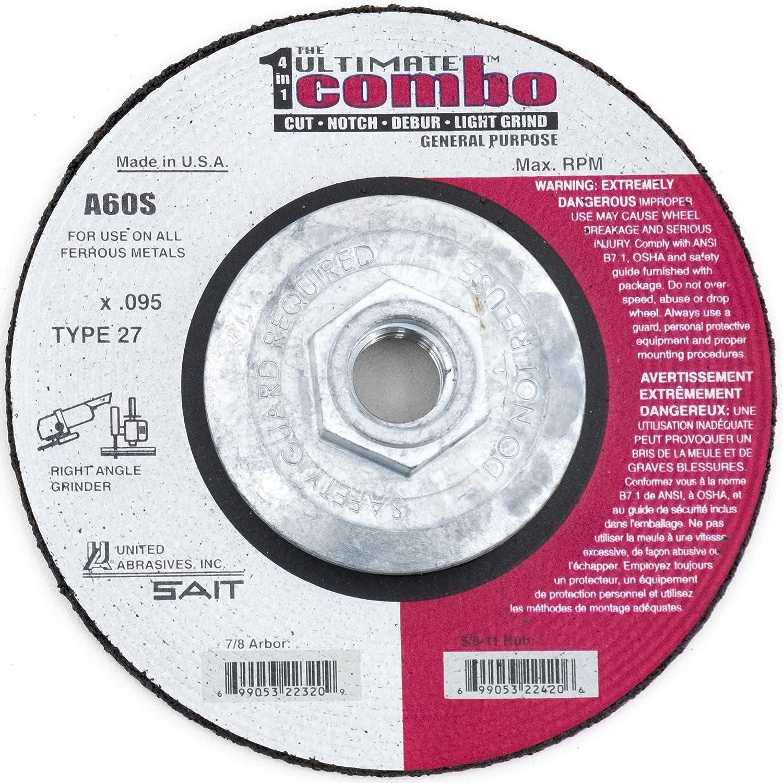 A60S 6 x .095 x 5//8-11 United Abrasives-SAIT 22426 Type 27 Ultimate Combo Wheel 25 Per Box