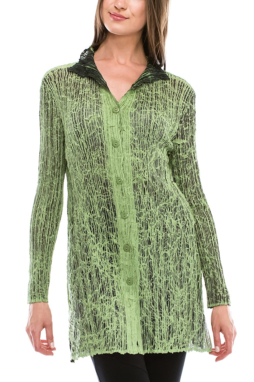 Petala Women's One Size Fits All Printed Button-Down Pleated Tunic Top in Green