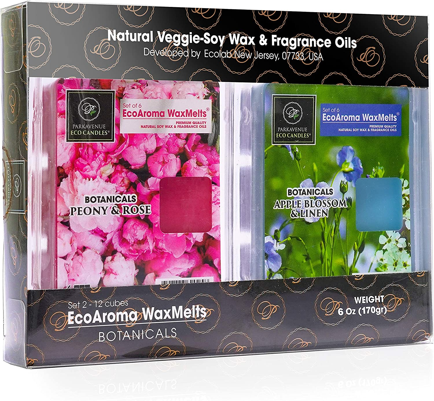 EcoAroma Coco-Soy Candles, Fresh Linen Apple Blossom,Peony Rose,Set of 2x6 Cubes (3 Oz Each), Scented Wax Melts Wax Cubes for Better Homes Gardens-Coconut Soy Wax Melts with Natural Essential Oils