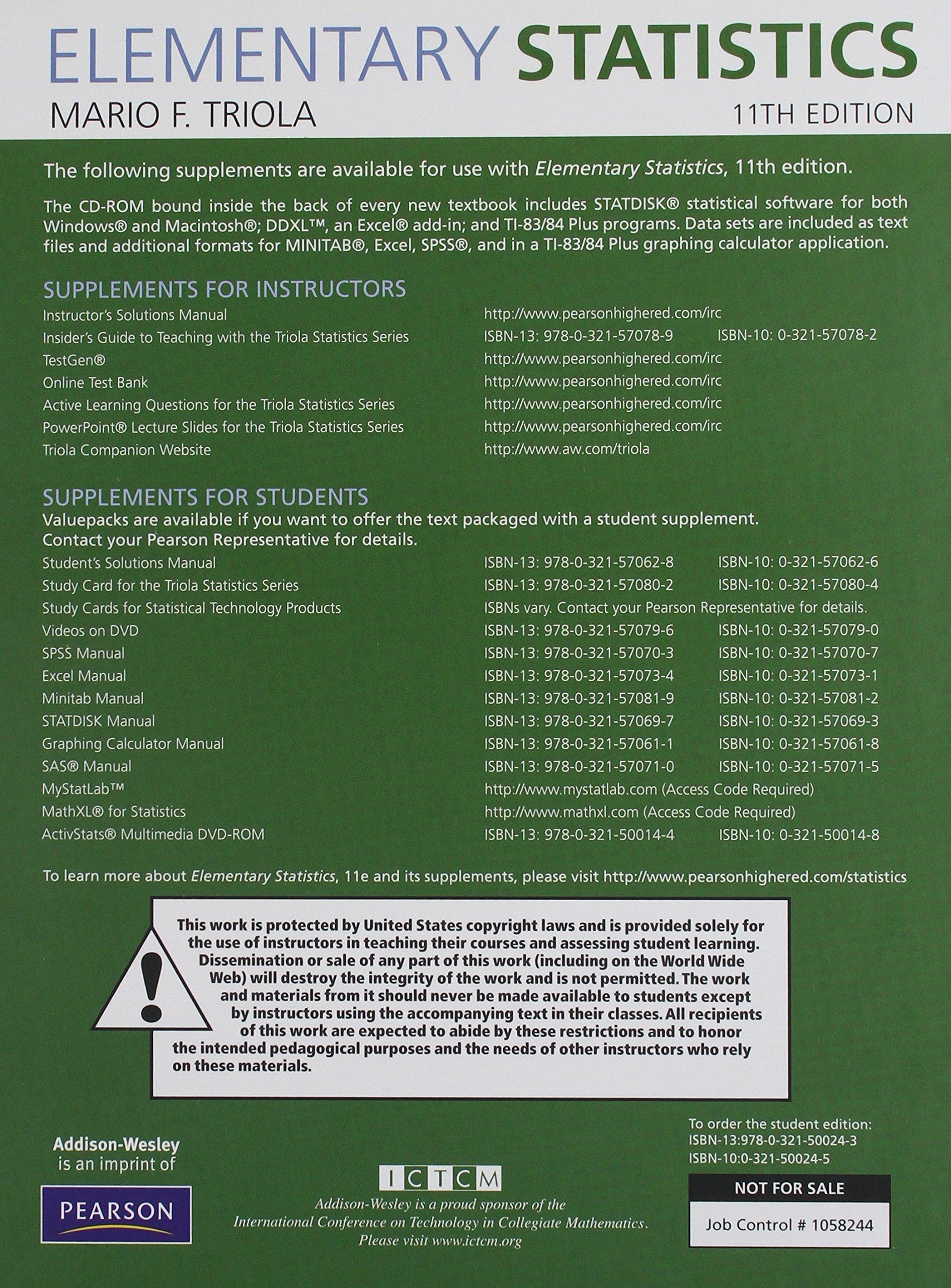Elementary Statistics Annotated Instructor's Edition: Mario F. Triola:  9780321570826: Amazon.com: Books