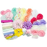 Baby Shower Games Party Supplies Station DIY Headband Kit by JLIKA - Make 20 Headbands and 2 Clips - DIY Hair Bow Kit - Pastel Collection (Small Size)