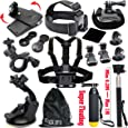 Black Pro Basic Common Outdoor Sports Kit for GoPro Hero 6 /GoPro Fusion/HERO 5/Session5/ 4 / 3+ / 3 / 2 / 1 SJ4000 /5000/ 6000 /AKASO/ APEMAN/ DBPOWER/ And Sony Sports DV and More