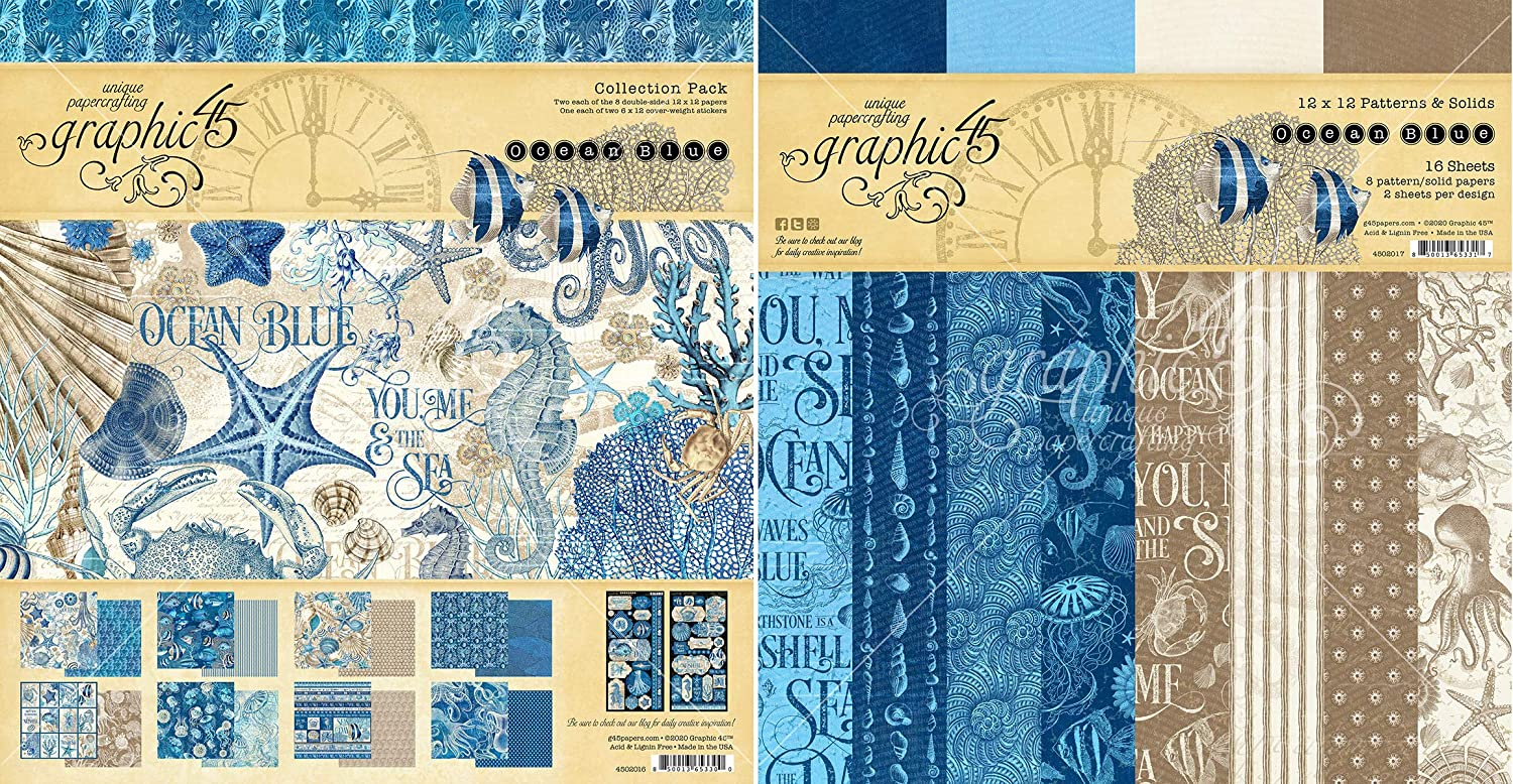 Graphic 45 Ocean Blue Collection Pack and Patterns & Solids Pad - 12x12 Decorative Papers - 2 Items
