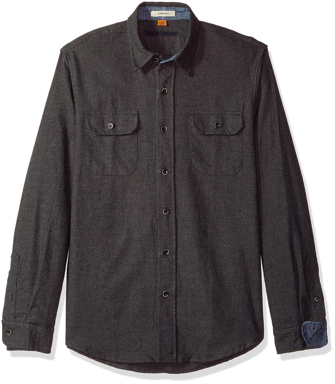 Tailor Vintage Mens Heather Brushed Double Pocket Flannel Shirt