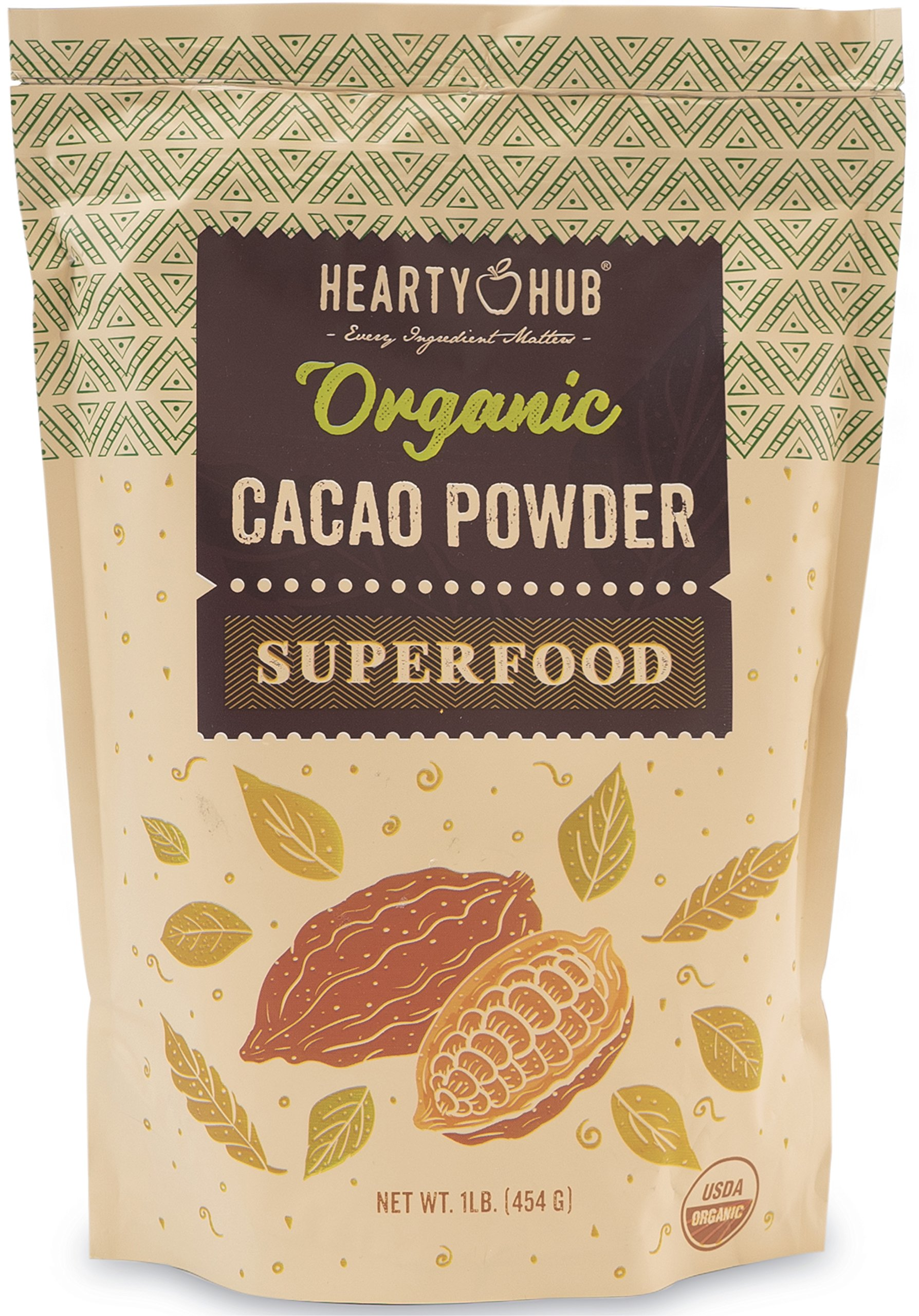 Heartyhub Organic Cacao Powder: from Hand-Picked Peruvian Criollo Cocoa Beans - 1 LB - Gluten-Free, Vegan, Kosher & Paleo Diet Friendly - Unsweetened Cocoa Powder - Raw Cacao Powder