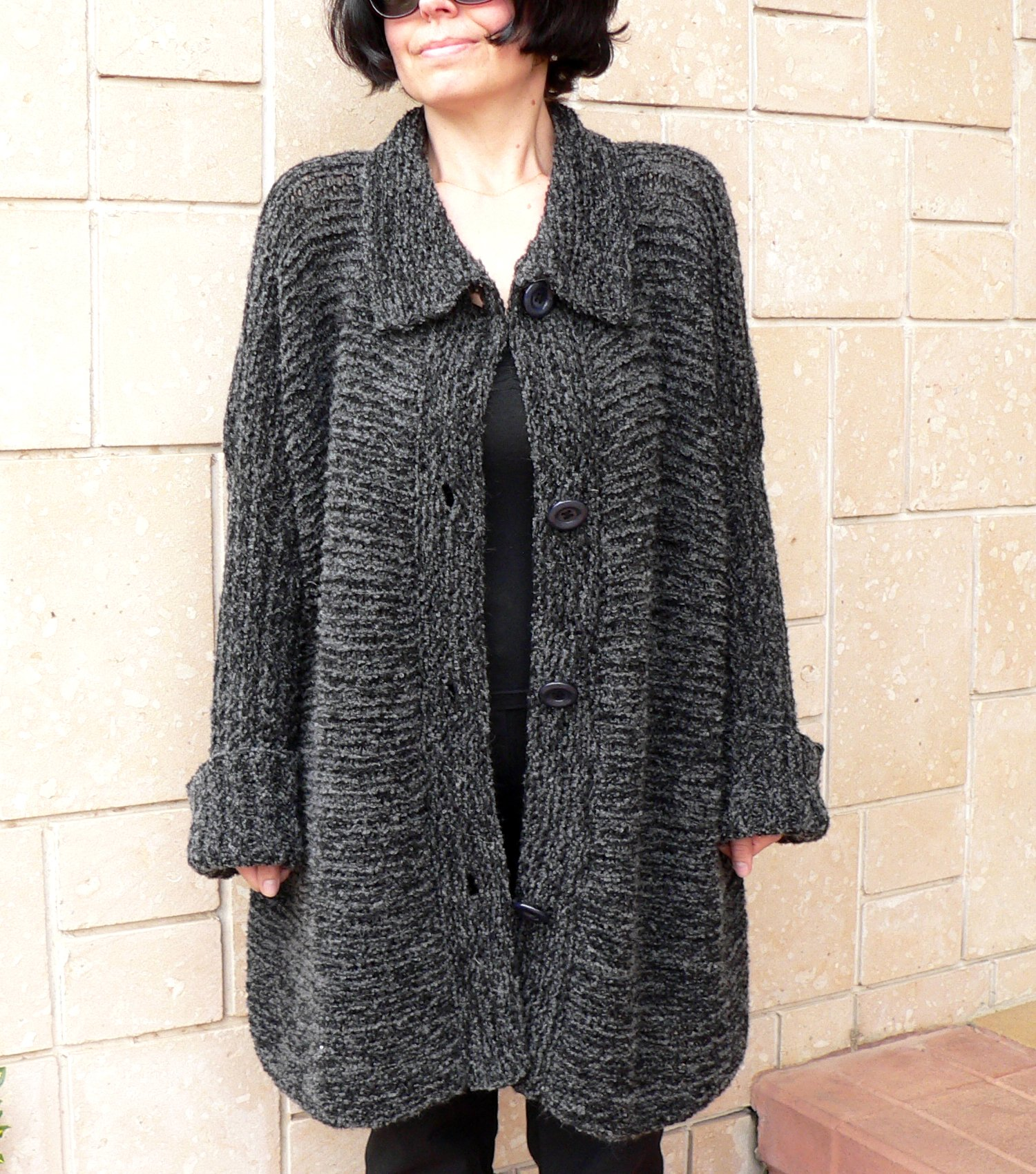 Women alpaca black cardigan