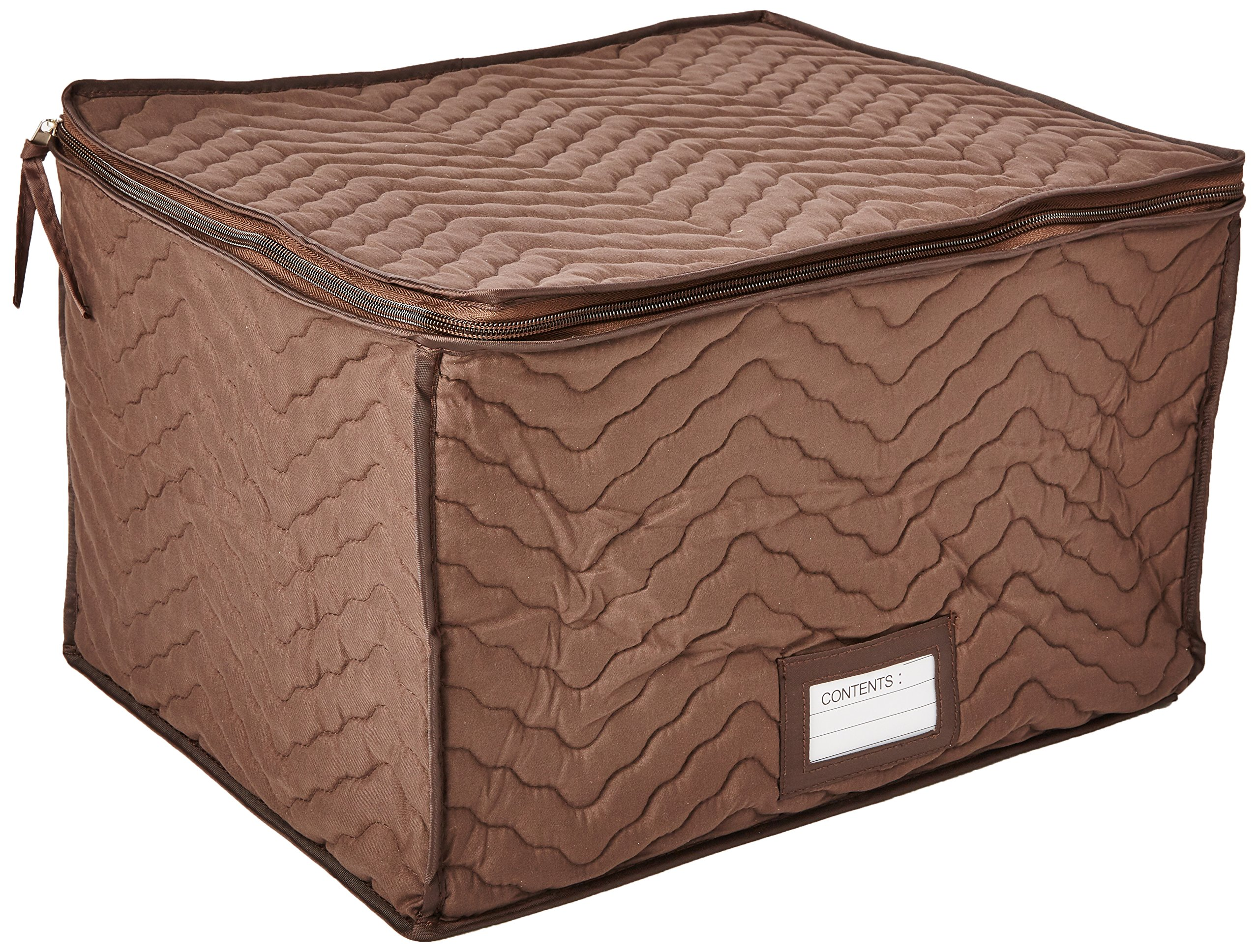 Hold N Storage Color Quilted Stemware Storage Case, Chocolate